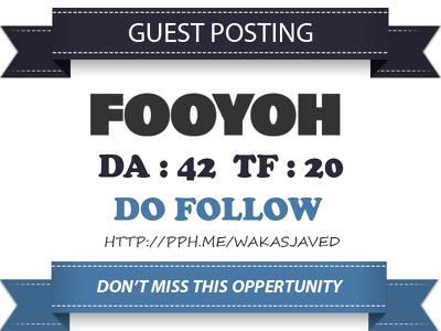 Write & publish Do Follow Guest Post On Fooyoh.com - DA 66 Link