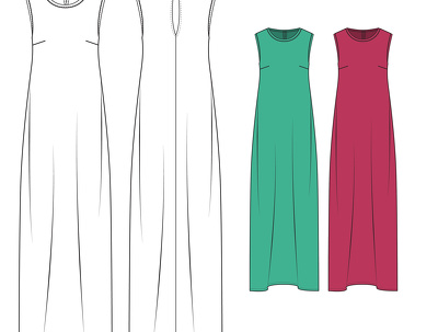 Create 2 Fashion Technical Drawings- Front and Back with colour