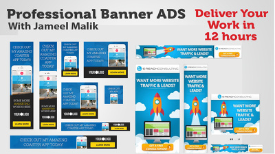 DESIGN CREATIVE 3 BANNER ADS in 12 hours