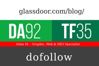 Publish a post on glassdoor.com/blog/- DA92, TF35