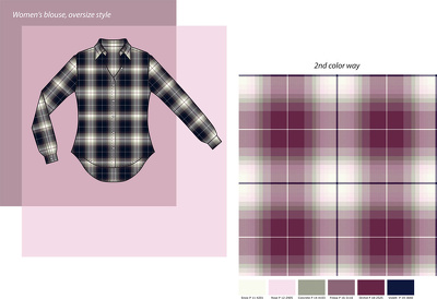 Design a check or stripe / woven fabric / yarn-dyed for fashion