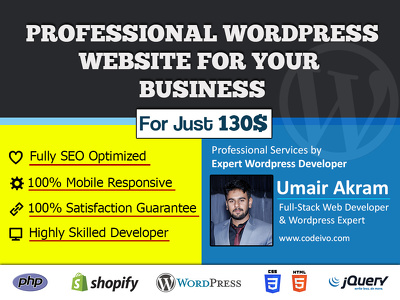 Make a Mobile & SEO Friendly Wordpress Website for your Business