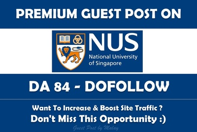 Guest post on Singapore University. nus.edu.sg - DA 84