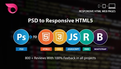 PSD To Responsive HTML5/CSS3 using Bootstrap Incl JS