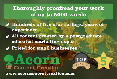 Thoroughly proofread your work of up to 5000 words.