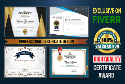 Do professional your Awesome Certificate  Award Design