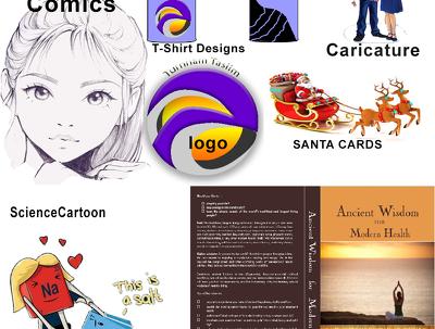 Create caricature,Pencil sketch,cartoon,Chrismas /New year Cards