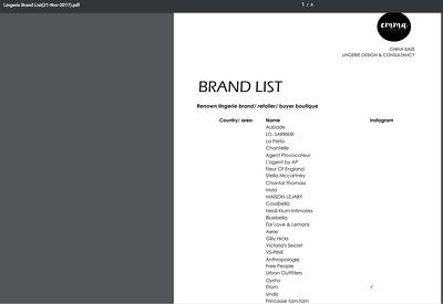 Provide a list of lingerie brands