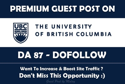 Guest post on British Columbia University. UBC.CA - DA 87