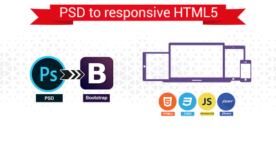 PSD to Responsive HTML One web Page using Bootstrap