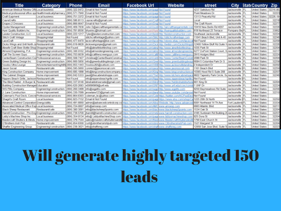 150 Lead Generation Any Country, Email Research, Web Research
