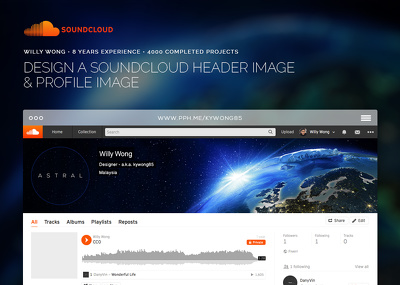 Design a beautiful soundcloud header image and profile image