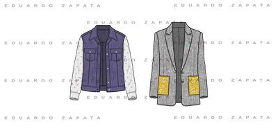 Create 8 fashion technical drawings