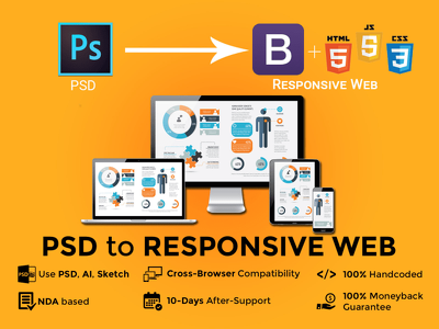 Convert PSD to responsive web using bootstrap 3, 4