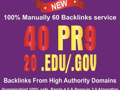 Manually Do 40 Pr9 Plus 20 Edu Or Gov Safe High PR Backlinks
