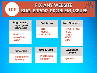 Fix any website Bug, Error, Problem, Issues