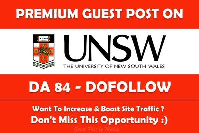 Guest post on New South Wales University. unsw.edu.au - DA 84