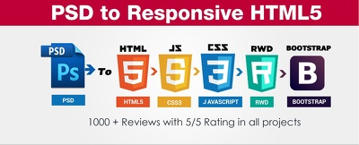 Convert psd to html and responsive webpages
