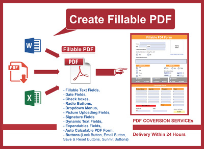 Create Fillable PDF From Word File,Pdf Or Microsoft Excel file