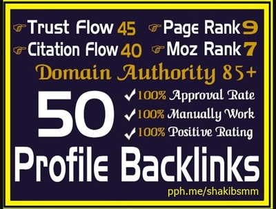 Manually Create 50 High Trust Flow Profile Backlinks For SEO