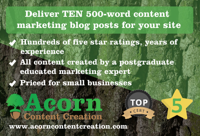 Deliver TEN 500-word content marketing blog posts for your site