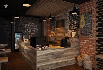 Design a coffee shop interior for maximum 90 square meter