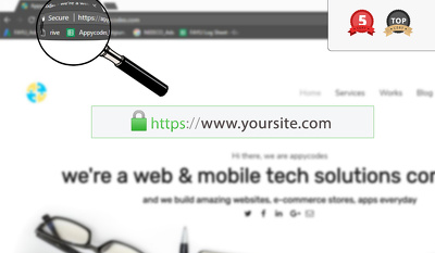 "Install SSL and update your site to show secure ""https"""