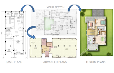 Draw colored floor plan for real estate agents