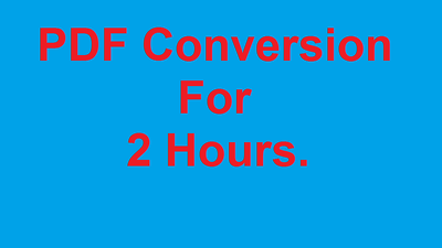 Do Any Type Of PDF Conversion for 2 Hours.