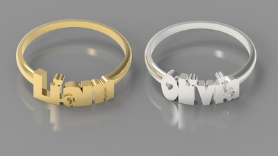 Make 3D model of a custom Ring  with any name or text