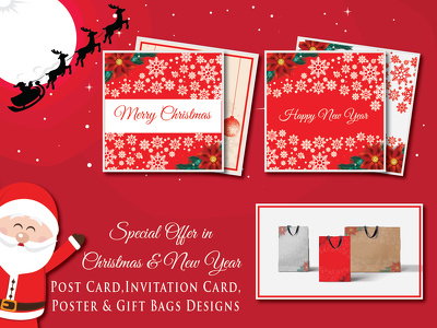 Design Christmas and New Year Invitation, Post Card & Bag Design