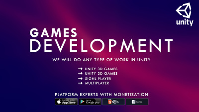 unity Development Make 2D & 3D Games Android / IOS Developers