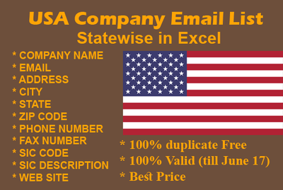 USA Company Email Database 2.62+ Million With details