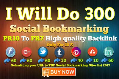 Do 300 Social Bookmarking PR10 To PR7 Site High quality Backlink