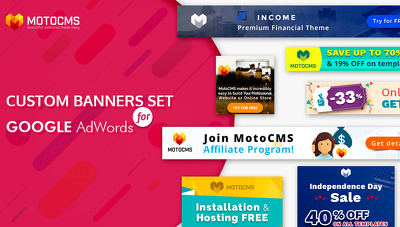 Design a google adwords banner with (6 sizes) set for you
