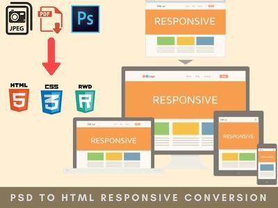 Convert PSD,JPEG,PNG to responsive HTML/CSS
