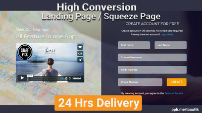 Create Stunning Landing Page Or Squeeze Page within 24 Hrs