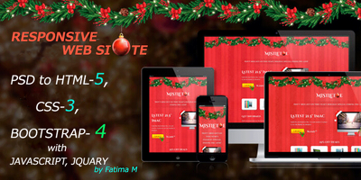 Convert PSD to html-5 responsive website with latest bootstrap-4
