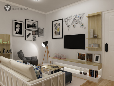 Design an apartment interior for maximum 60 square meter