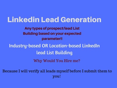 Do parfect linkedin lead generation as per your expection.
