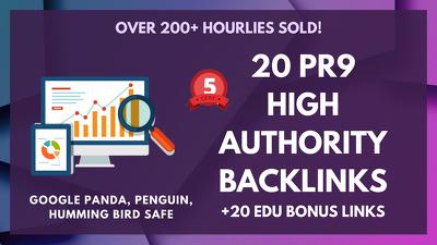 Create 20 PR9 High Authority Backlinks +20 EDU Bonus Links