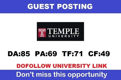 Dofollow Edu guest post on Temple.edu (Temple University) - DA85