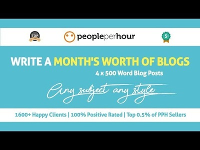 Write a month's worth of blog articles (4 x 500 Words)