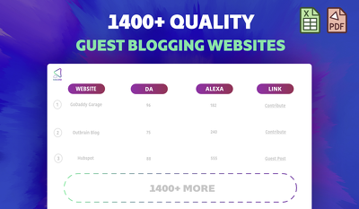 Send a Massive List of 1,400+ Quality Guest Blogging Websites