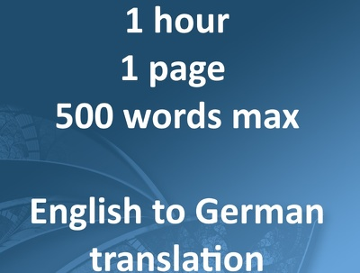 Translate English-German product descriptions of 500 words max