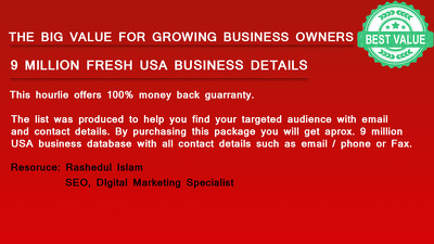 Deliver 9 Millions Fresh USA Business Email, Phone & All Details