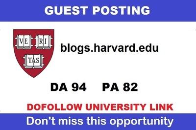 Guest post on harvard edu university blog (harvard.edu) ,DA 94