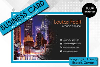 Create a paint splash style business card