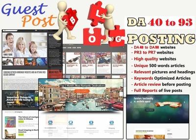 Place 10 unique guest blog posts on DA 40-95 Websites