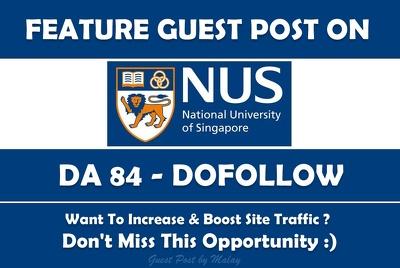 FEATURE Guest Post on Singapore University. nus.edu.sg DA 84